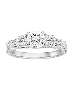 18K White Gold Diamond Engagement Ring with .74ctw of diamonds (does not include the center stone, made to hold a 1ct round center stone but can be modified for any shape or size center)