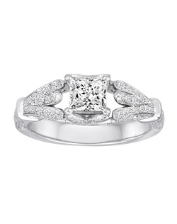 18K White Gold Vintage Inspired Engagement Ring with .52ctw of diamonds (does not include the center stone, made to hold a 5mm princess cut center stone but can be modified for any shape or size center)