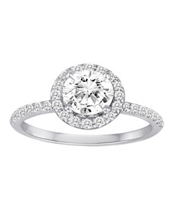 18K White Gold Halo Diamond Engagement Ring with .39ctw of diamonds (does not include the center stone, made to hold a 1ct round center stone but can be modified for any shape or size center)