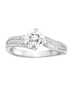 18K White Gold Concave Diamond Engagement Ring with .33ctw of diamonds (does not include the center stone, made to hold a 1ct round center stone but can be modified for any shape or size center)