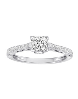 18K White Gold Vintage Inspired Engagement Ring with .27ctw of diamonds(does not include the center stone, made to hold a 5x5mm princess cut center stone but can be modified for any shape or size center)