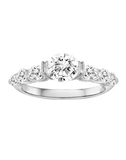 18K White Gold Vintage Inspired Engagement Ring with .70ctw of diamonds (does not include the center stone, made to hold a 1ct round center stone but can be modified for any shape or size center)