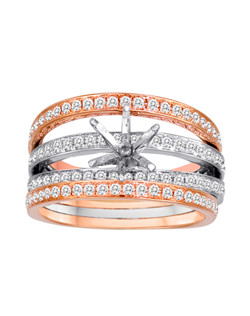 18K Two-Tone Rose Gold Stria Engagement Ring with .82ctw of diamonds(does not include the center stone, made to hold a 1ct round center stone but can be modified for any shape or size center)
