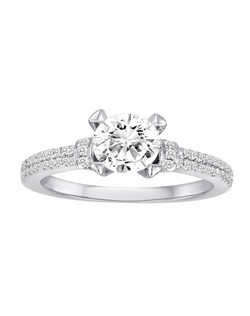 18K White Gold Diamond Engagement Ring with .34ctw of diamonds (does not include the center stone, made to hold a 1ct round center stone but can be modified for any shape or size center)