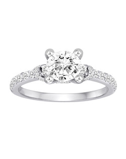 18K White Gold Diamond Engagement Ring with .57ctw of diamonds (does not include the center stone, made to hold a 1ct round center stone but can be modified for any shape or size center)