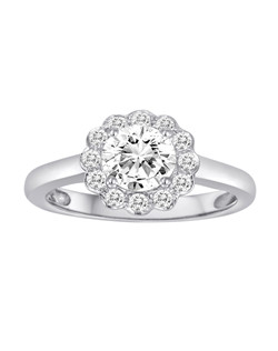 18K White Gold Scalloped Halo Diamond Engagement Ring with .24ctw of diamonds(does not include the center stone, made to hold a 1ct round center stone but can be modified for any shape or size center)