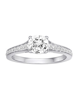 18K White Gold Engagement Ring with .26ctw of diamonds (does not include the center stone, made to hold a 1ct round center stone but can be modified for any shape or size center)
