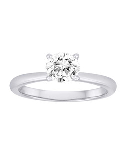 18K White Gold Simple Engagement Ring with .07ctw of diamonds under the center diamond (does not include the center stone, made to hold a 1ct round center stone but can be modified for any shape or size center)