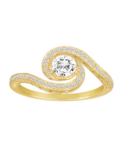 18K Yellow Gold Swirl Engagement Ring with .23ctw of diamonds (does not include the center stone, made to hold a .50ct round center stone but can be modified for any shape or size center)