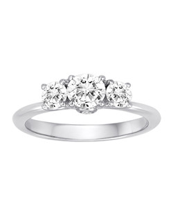 18K White Gold Bouquet Three Stone Engagement Ring with .06ctw of accent diamonds (does not include the center stone, made to hold a .50ct round center stone and two .25ctw side stones but can be modified for any shape or size center)