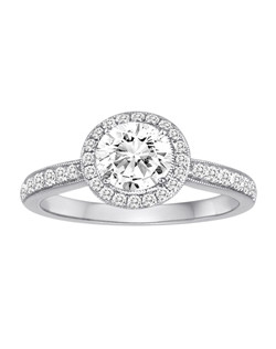 18K White Gold Engagement Ring with .49ctw of diamonds  (does not include the center stone, made to hold a 1ct round center stone but can be modified for any shape or size center)