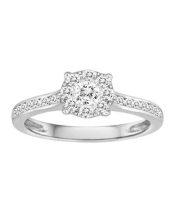 18K White Gold Cluster Engagement Ring with .60ctw of diamonds (finished piece, includes all diamonds, can be made for any size)