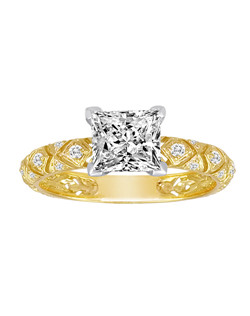 18K Yellow Gold Detailed Engagement Ring with .22ctw of diamonds  (does not include the center stone, made to hold a 1ct round center stone but can be modified for any shape or size center)