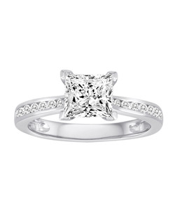18K White Gold Engagement Ring with .23ctw of diamonds  (does not include the center stone, made to hold a 6.5x6.5mm princess cut center stone but can be modified for any shape or size center)