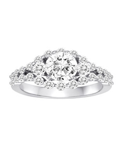 18K White Gold Shared Prong Engagement Ring with .86ctw of diamonds  (does not include the center stone, made to hold a 1ct round center stone but can be modified for any shape or size center)