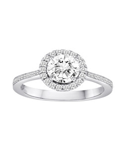 18K White Gold Halo Engagement Ring with .26ctw of diamonds (does not include the center stone, made to hold a 1ct round center stone but can be modified for any shape or size center)