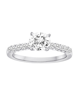 18K White Gold Diamond Engagement Ring with .35ctw of diamonds (does not include the center stone, made to hold a 1ct round center stone but can be modified for any shape or size center)