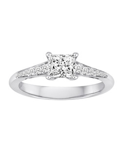 18K White Gold Engagement Ring with .15ctw of diamonds  (does not include the center stone, made to hold a 1ct round center stone but can be modified for any shape or size center)