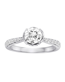 18K White Gold Flower Bloom Engagement Ring with .24ctw of diamonds  (does not include the center stone, made to hold a 1ct round center stone but can be modified for any shape or size center)