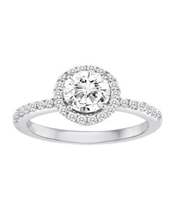 18K White Gold Diamond Halo Engagement Ring with .79ctw of diamonds (does not include the center stone, made to hold a 1ct round center stone but can be modified for any shape or size center)