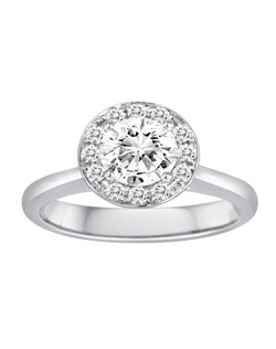 18K White Gold Halo Engagement Ring with .43ctw of diamonds  (does not include the center stone, made to hold a 1ct round center stone but can be modified for any shape or size center)