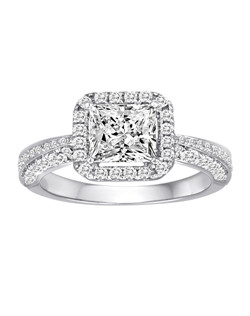 18K White Gold Pave Square Halo Engagement Ring with .89ctw of diamonds  (does not include the center stone, made to hold a 6.5x6.5mm princess cut center stone but can be modified for any shape or size center)