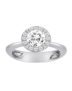 18K White Gold Halo Engagement Ring with .35ctw of diamonds  (does not include the center stone, made to hold a 1ct round center stone but can be modified for any shape or size center)