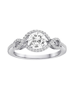 18K White Gold Braided Engagement Ring with .27ctw of diamonds (does not include the center stone, made to hold a 1ct round center stone but can be modified for any shape or size center)