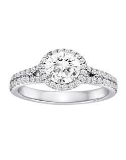 18K White Gold Double Band Diamond Halo Engagement Ring with .44ctw of diamonds (does not include the center stone, made to hold a 1ct round center stone but can be modified for any shape or size center)