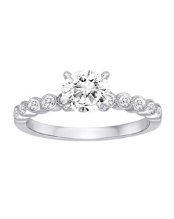 18K White Gold Shared Prong Diamond Engagement Ring with .26ctw of diamonds (does not include the center stone, made to hold a 1ct round center stone but can be modified for any shape or size center)