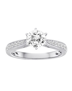 18K White Gold Diamond Engagement Ring with .23ctw of diamonds (does not include the center stone, made to hold a 1ct round center stone but can be modified for any shape or size center)