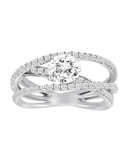 18K White Gold Criss Cross Engagement Ring with .69ctw of diamonds (does not include the center stone, made to hold a 1ct round center stone but can be modified for any shape or size center)
