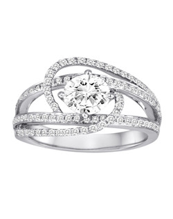 18K White Gold By Pass Engagement Ring with .54ctw of diamonds (does not include the center stone, made to hold a 1ct round center stone but can be modified for any shape or size center)