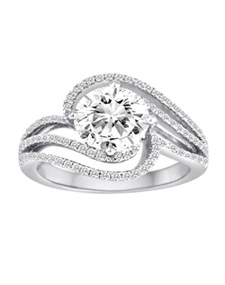 18K White Gold Swirl Engagement Ring with .39ctw of diamonds  (does not include the center stone, made to hold a 1ct round center stone but can be modified for any shape or size center)