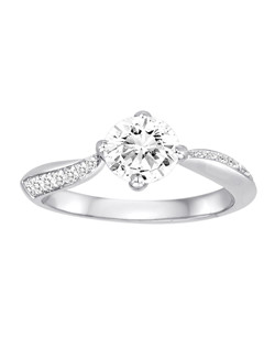 18K White Gold Swirl Engagement Ring with .16ctw of diamonds (does not include the center stone, made to hold a 1ct round center stone but can be modified for any shape or size center)