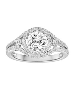 18K White Gold Double Circle Engagement Ring with .54ctw of diamonds(does not include the center stone, made to hold a 1ct round center stone but can be modified for any shape or size center)