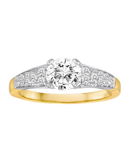 18K Two-Tone Diamond Engagement Ring with .23ctw of diamonds (does not include the center stone, made to hold a 1ct round center stone but can be modified for any shape or size center)