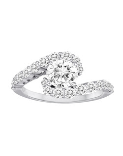 18K White Gold Prong Set Swirl Engagement Ring with .90ctw of diamonds (does not include the center stone, made to hold a 1ct round center stone but can be modified for any shape or size center)