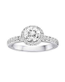 18K White Gold Halo Engagement Ring with .48ctw of diamonds (does not include the center stone, made to hold a 1ct round center stone but can be modified for any shape or size center)