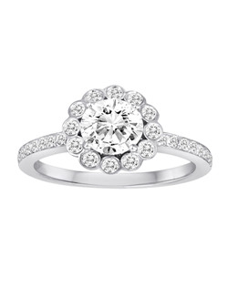18K White Gold Scalloped Halo Engagement Ring with .43ctw of diamonds (does not include the center stone, made to hold a 1ct round center stone but can be modified for any shape or size center)