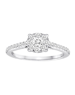 18K White Gold Magic Cluster Engagement Ring with .73ctw of diamonds (finished piece, includes all diamonds, can be modified for any size)