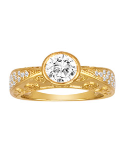 18K Yellow Gold Exotic Engagement Ring with .20ctw of diamonds (does not include the center stone, made to hold a 1ct round center stone but can be modified for any shape or size center)