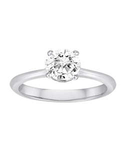 18K White Gold Simple Solitaire Engagement Ring (does not include the center stone, made to hold a 1ct round center stone but can be modified for any shape or size center)