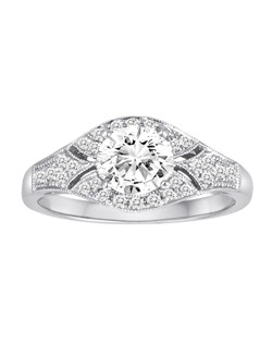 18K White Gold Vintage Inspired Engagement Ring with .26ctw (does not include the center stone, made to hold a 1ct round center stone but can be modified for any shape or size center)