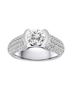 18K White Gold Bezel Set Empress Engagement Ring with 1.26ctw of diamonds (does not include center diamond, made for a 1ct round stone but can be modified for any size or shape center stone)