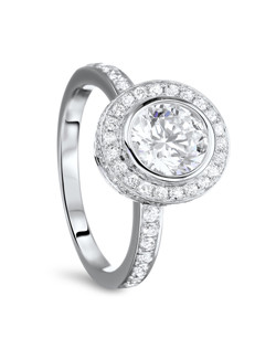 18K White Gold Double Encrusted Halo Engagement Ring with .70ctw of diamonds (does not include center diamond, made to hold a 1ct round center stone but can be modified for any size or shape center stone)