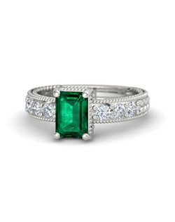 This captivating emerald-cut solitaire ring is accented by six pave-set gems along its shoulders. A sculpted braided design begins and ends with pave side accents for vintage appeal. Customize with your choice of 27 gemstones and 9 precious metals.