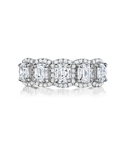 Pavé halo five stone Signature Daussi Cushion™ diamond ring