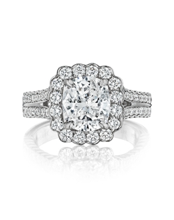 Pavé halo split shank ring featuring a 1.75ct Signature Daussi Cushion™ diamond with 0.80ct of accent diamonds