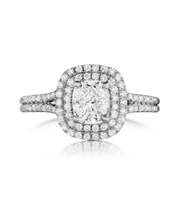 Pavé double halo ring featuring a 1.11ct Signature Daussi Cushion™ diamond with 0.55ct of accent diamonds